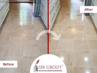 Stone Polishing Revamps This Elegant Travertine Floor in Gaithersburg, Maryland and Makes It Shine Again