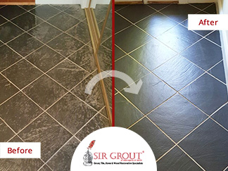 This Homeowners Slate Floor Was Revived After a Stone Sealing Service in Fairfax Virginia