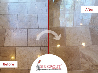 This Luxurious Marble Floor Regained its Shine with a Stone Polishing Service in Brentwood