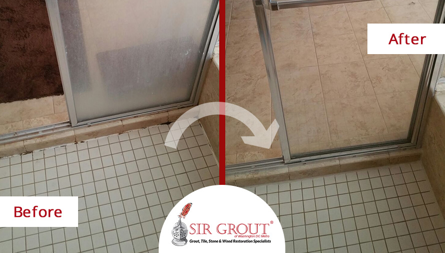 Before & After Picture of a Shower Grout Cleaning Service in Great Falls, Virginia