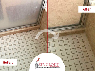 Before & After Picture of a Grout Cleaning Service in Great Falls, Virginia