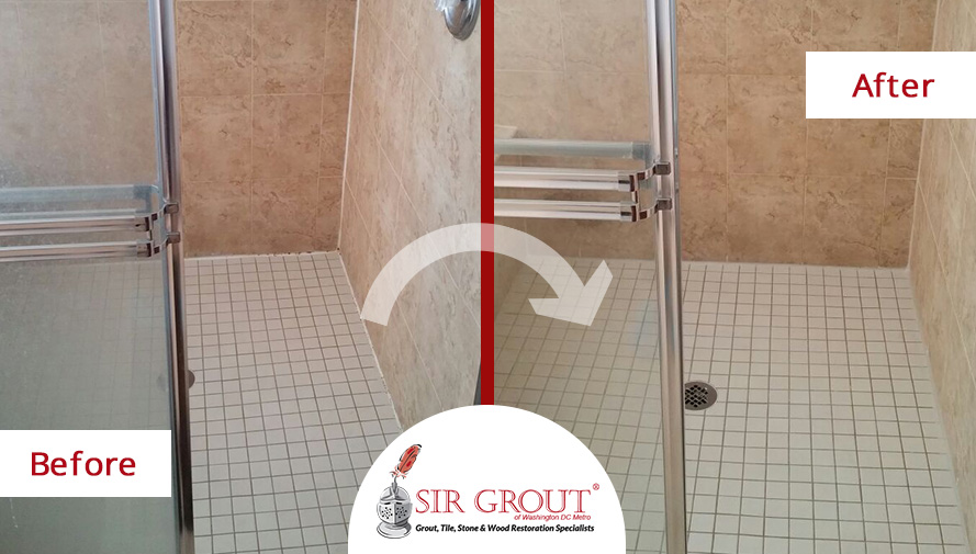 Before & After Picture of a Grout Cleaning Service in Great Falls, VA