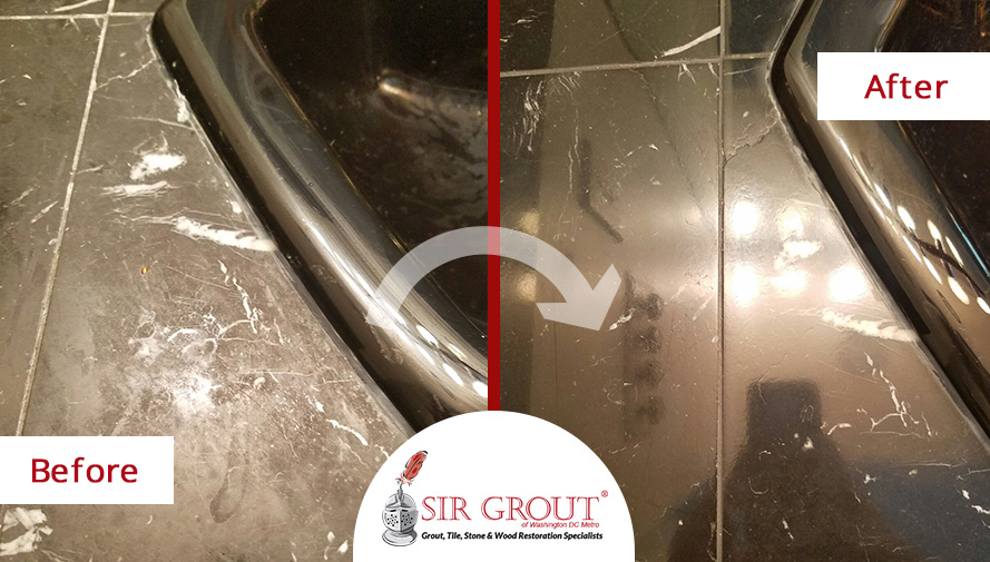 Before and After Picture of a Stone Polishing Service in Vienna, MD