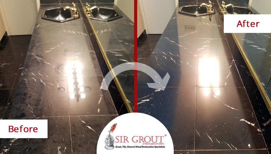 Before and After Picture of a Stone Polishing Service Performed on Marble Surfaces in Vienna, MD