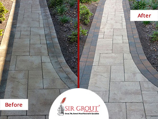 Before and After Picture of a Stone Sealing Service in Vienna, Virginia