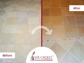 Before and After Picture of a Grout Recoloring Service in Arlington, Virginia