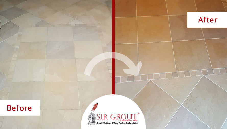 Before and After Picture of a Grout Recoloring in Arlington, Virginia