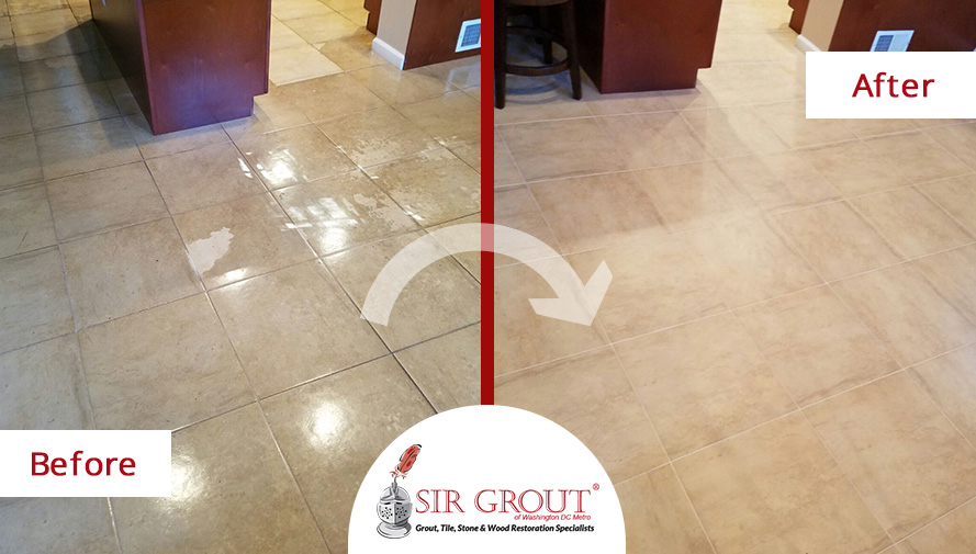 Before and After Picture of a Tile Sealing Service in Arlington, Virginia