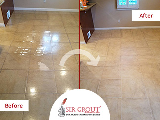 Before and After Picture of a Tile Sealing in Arlington, VA