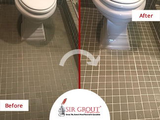 Before and After Picture of a Grout Sealing in Tenleyton