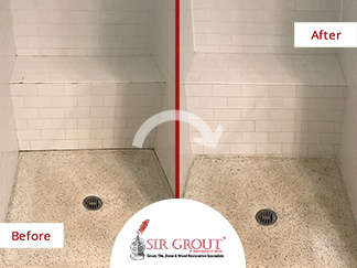 Before and After Picture of a Grout Cleaning Service in Vienna, Washington DC