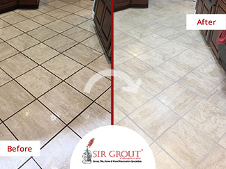 Before and After PIcture of a Tile Grout Cleaning in Bethesa