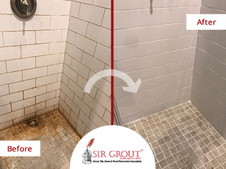 Before and After Picture of Tile and Grout Cleaners in Rockville, MD