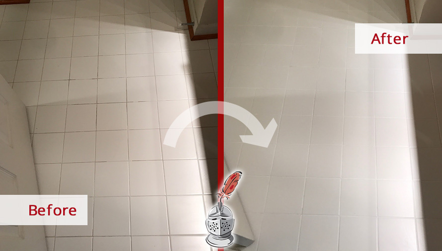 Before and After Picture of a Dirty Grout in Fairfax, VA