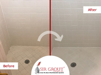 Before and After Picture of a Grout Cleaning Service in Rockville, MD