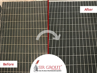 Before and After Picture of a Bathroom Floor Grout Sealing Service in Rockville, Maryland