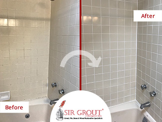 Before and After Picture of a Shower Caulking Service in Fairfax, VA