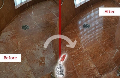 Before and After Picture of a Marble Shower with Mineral Deposits