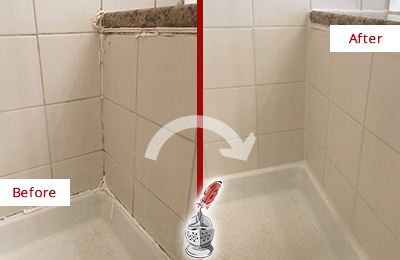 Before and After Picture of a Brinklow Shower Caulked to Repair Damaged Caulking