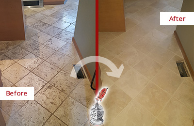 Before and After Picture of a Bluemont Kitchen Marble Floor Cleaned to Remove Embedded Dirt