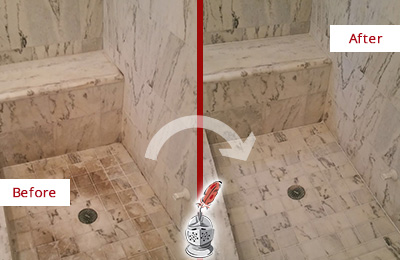 Before and After Picture of a Dirty Bluemont Marble Shower Cleaned to Eliminate Dark Stains