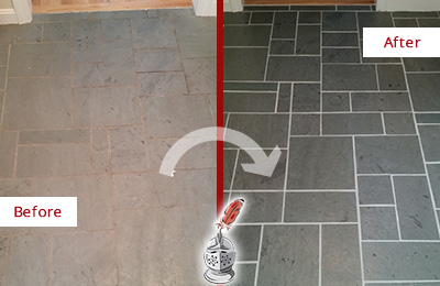 Before and After Picture of a Bluemont Slate Floor Cleaned to Remove Deep-Seated Dirt