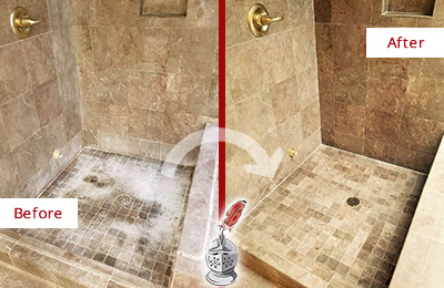 Before and After Picture of a Bluemont Travertine Shower Cleaned to Eliminate Water Spots