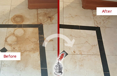 Before and After Picture of a Bluemont Marble Floor Cleaned to Eliminate Rust Stains