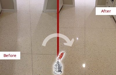 Before and After Picture of a Centreville Granite Floor Sealed for Stone Protection