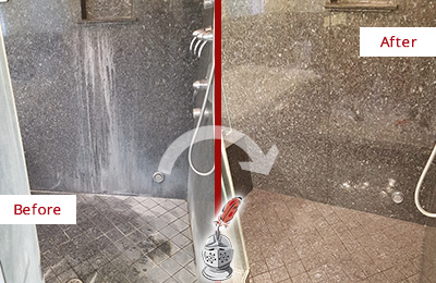 Before and After Picture of a Centreville Granite Shower Stone Sealed to Avoid Mineral Deposits