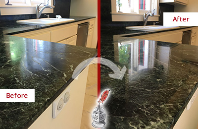 Before and After Picture of a Bluemont Marble Kitchen Countertop Honed to Remove Water Marks