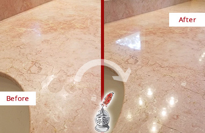 Before and After Picture of a Bluemont Marble Vanity Top Honed to Eliminate Water Spots