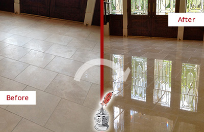 Before and After Picture of a Clarksburg Hard Surface Restoration Service on a Dull Travertine Floor Polished to Recover Its Splendor