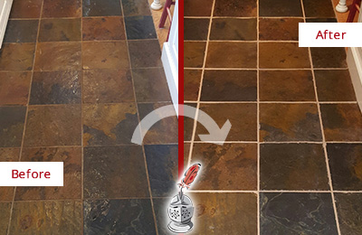 Before and After Picture of a Ashton Slate Floor Recolored Grout