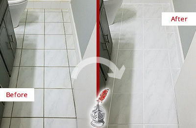Before and After Picture of a Ashton White Ceramic Tile with Recolored Grout