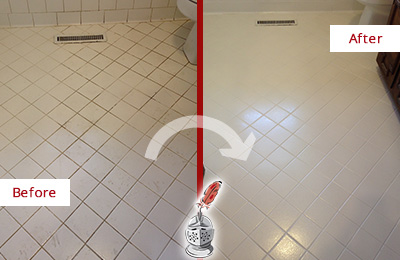 Before and After Picture of a Adams Morgan White Bathroom Floor Grout Sealed for Extra Protection