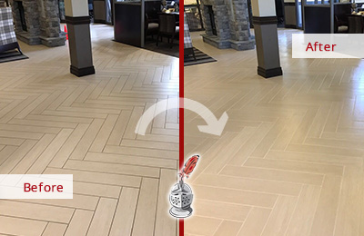Before and After Picture of Lobby Tile Floor Cleaned and Sealed to Remove Embedded Grime