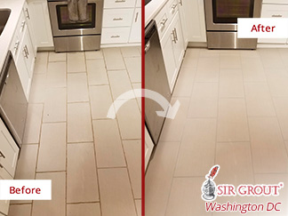 Before and After Picture of a Grout Cleaning Service in Rockville, MD.
