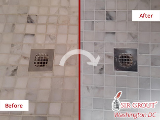 Before and After Image of Grout Sealing in Reston, VA.