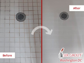 Image of a Shower Floor Before and After a Grout Sealing in Alexandria, VA