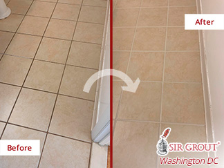 Before and After Picture of a Grout Sealing in Silver Spring, MD
