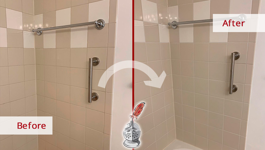 Picture of a Shower Before and After a Grout Sealing in Silver Spring, MD