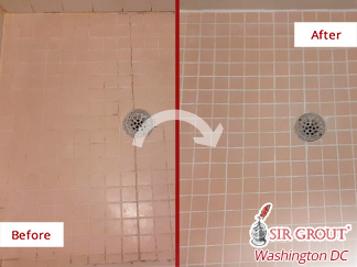 Image of a Shower Floor Before and After Our Caulking Services in Alexandria, VA