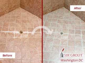 Picture of a Shower Before and After a Grout Sealing in Ashburn, VA