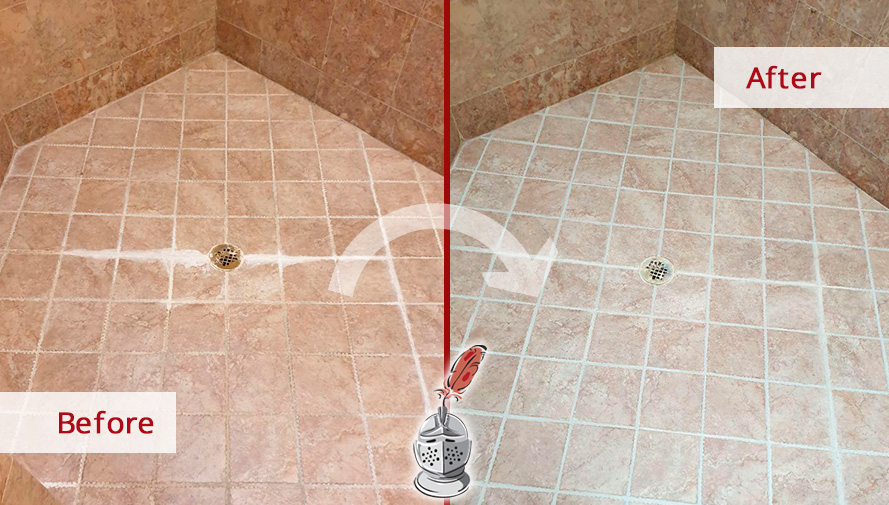 Image of a Shower Before and After a Superb Grout Sealing in Ashburn, VA