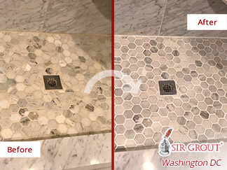 Before and After Image of a Shower After a Grout Sealing in Great Falls, VA