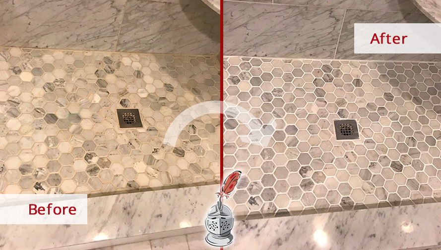 Before and After Image of a Shower After a Professional Grout Sealing in Great Falls, VA