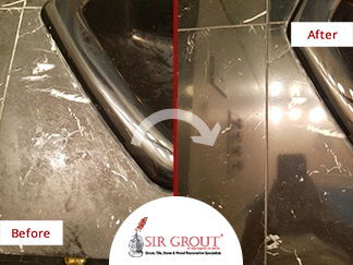 Before and After Picture of a Stone Polishing Service in Vienna, Maryland