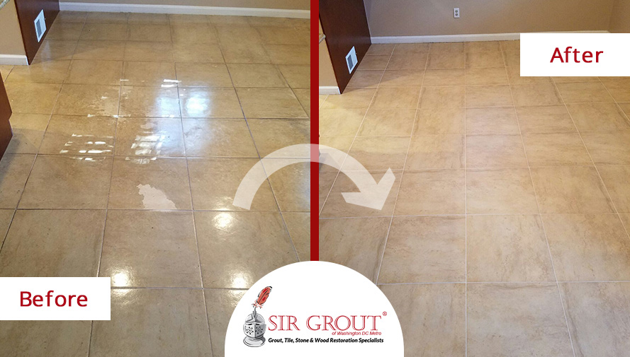 Before and After Picture of a Tile Sealing Job in Arlington, Virginia