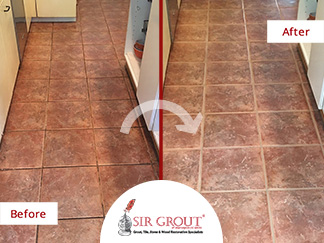 Before and After Picture of a Floor Tile and Grout Cleaners in Capitol Hill